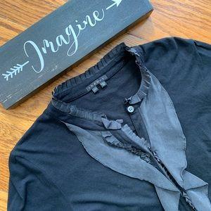 Theory black silk ruffle button up blouse
